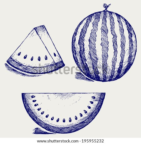 Whole and slices of watermelon. Doodle style. Raster version - stock photo