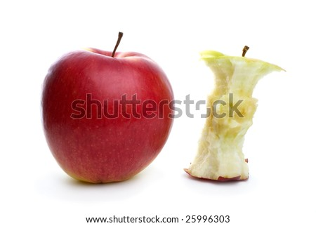 Whole apple and core isolated on the white background - stock photo