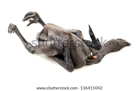 Whole Black Chicken, Silkie, Isolated On White Background - stock photo