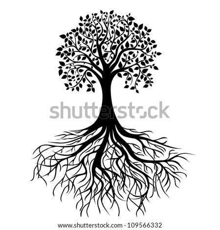 whole black tree with roots isolated white background vector - stock photo