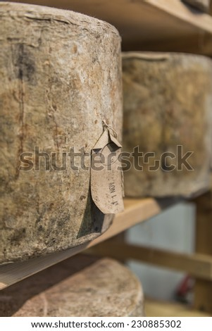 Whole blue cheeses wrapped and aging on shelves - stock photo