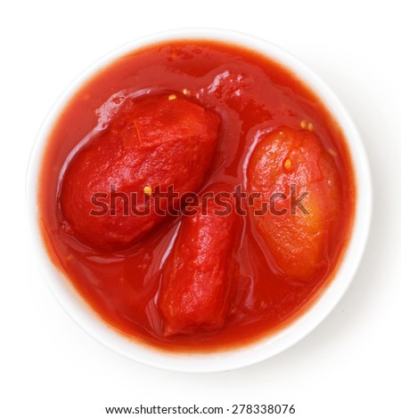 Whole canned tomatoes in white dish. Isolated above. - stock photo
