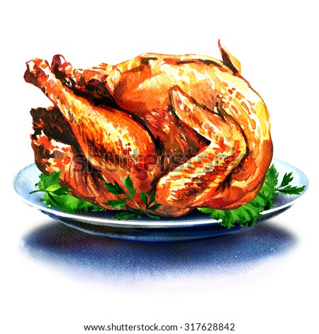 whole christmas dinner turkey with salad, watercolor painting on white background - stock photo