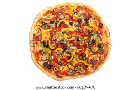 whole colorful vegetable, mushroom and pepperoni pizza on white background - stock photo