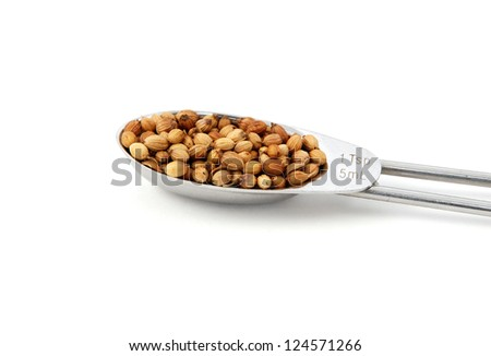 Whole coriander or cilantro seeds measured in a metal teaspoon, isolated on a white background - stock photo