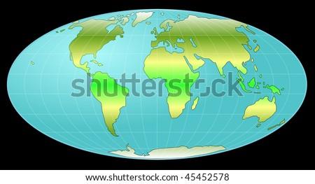 Whole earth globe with heat zones - stock photo