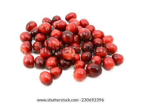 Whole fresh cranberries, isolated on a white background - stock photo