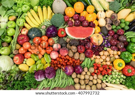 Whole fruits and vegetables organic for healthy - stock photo