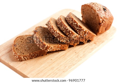 Whole grain bread with sesame seeds. Isolated on white - stock photo