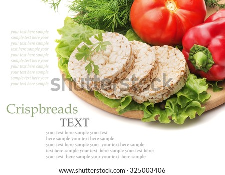 Whole grain cereal crispbreads made from buckwheat, rye, wheat and oats, fresh tomatoes, bell peppers, watercress salad and dill isolated on a white background closeup - stock photo