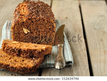 Whole-Grain Loaf Cake, copy space for your text - stock photo