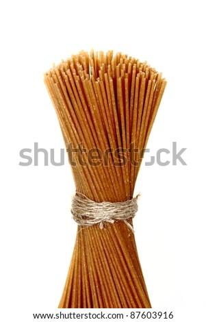 Whole grain raw pasta - stock photo