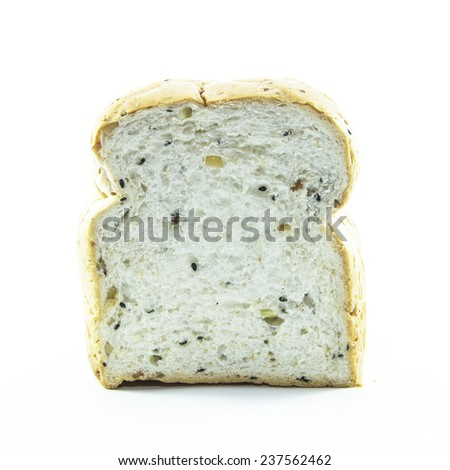Whole grain texture in healthy bread on white background