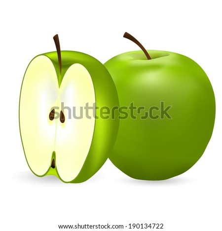 whole green apple and half  - stock photo