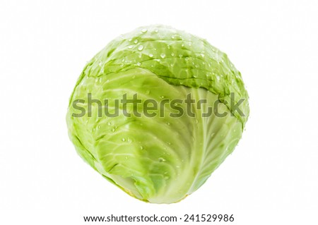 whole Green Cabbage on white background - stock photo