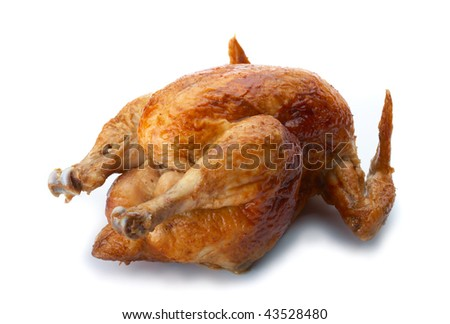 Whole grilled chicken on white background.