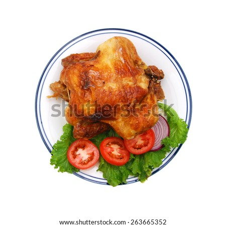 whole grilled chicken served with vegetable - stock photo