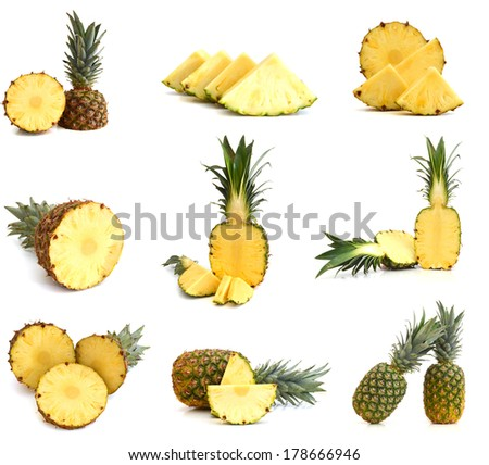 whole, half and slice pineapple on white background  - stock photo