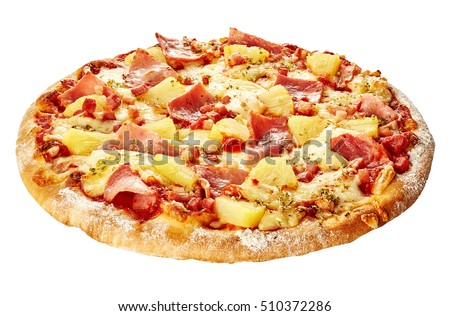 Whole isolated Italian Hawaiian pizza topped with pineapple and ham on mozzarella cheese and tomato topping on a thick pie crust
