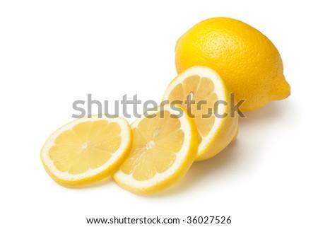 Whole Lemon and Slices on White Background - stock photo