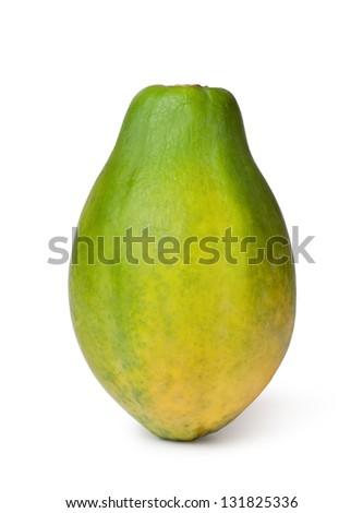 whole papaya fruits on white background - stock photo