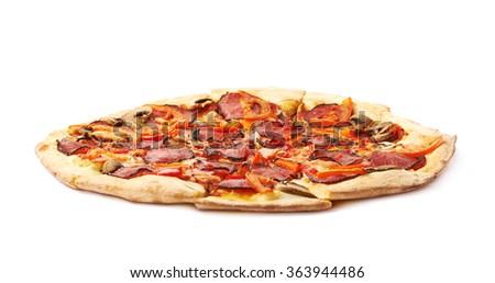 Whole pepperoni pizza isolated - stock photo