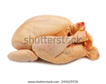 Whole raw chicken isolated on white background - stock photo