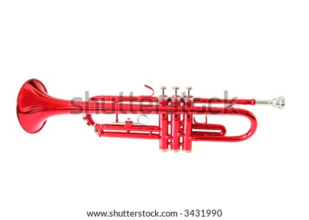 whole red trumpet isolated on white