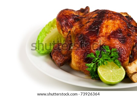 Whole roasted chicken and vegetables - stock photo