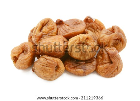 Whole soft dried figs, isolated on a white background