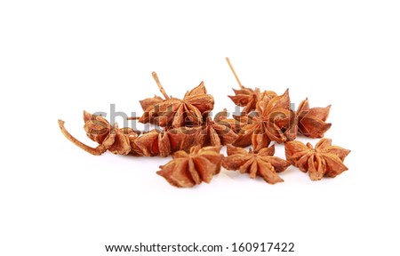 Whole Star Anise isolated on white background with shadow