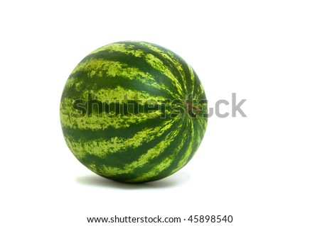 Whole water melon on white background with drop shadow