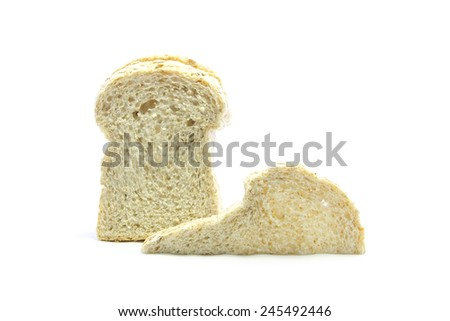 Whole wheat and oat bread sandwich ingredient on white background - stock photo