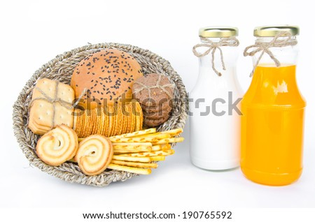 Whole wheat bread and biscuits in Basket weave isolated on white background. - stock photo