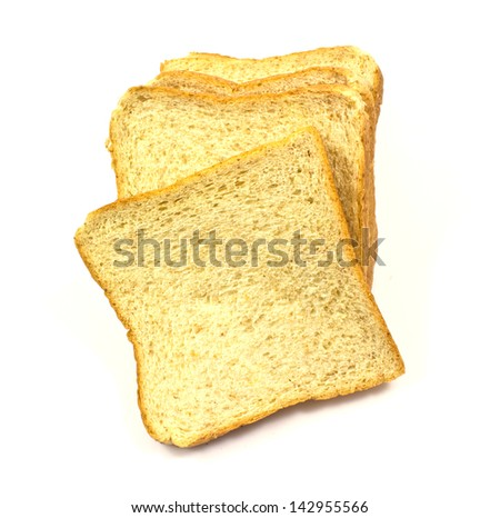 whole wheat bread on a white background - stock photo