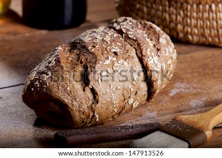 Whole wheat bread on a wooden table