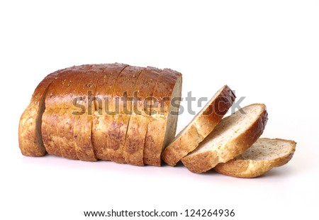 Whole wheat bread on white background - stock photo