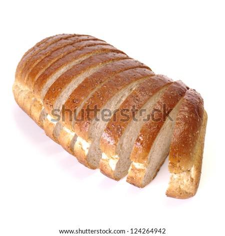 Whole wheat bread on white background - stock photo