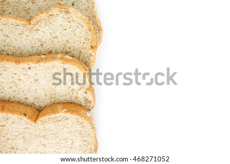 whole wheat bread top view on white background.