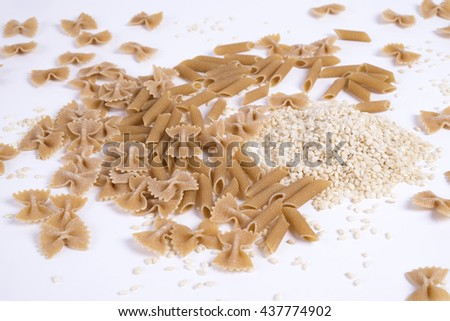 Whole wheat pasta and rice - stock photo