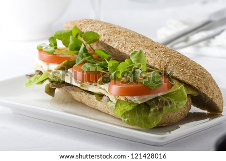 Whole wheat sandwich with tomato, asparagus, goat cheese, omelet, lettuce and watercress - stock photo