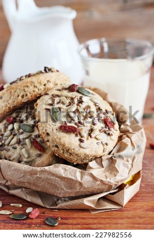 Whole wheat scones with goji berries and seed mix .Close up.