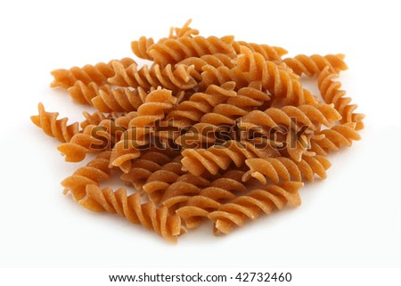 Whole wheat vermicelli isolated on a white background - stock photo