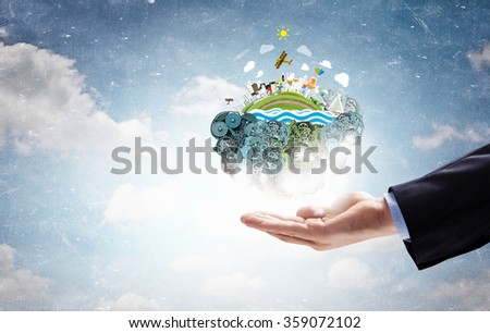 Whole world in hands - stock photo