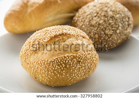 wholewheat bread on white background