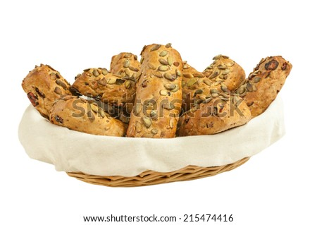 Wholewheat buns isolated on a white background. - stock photo