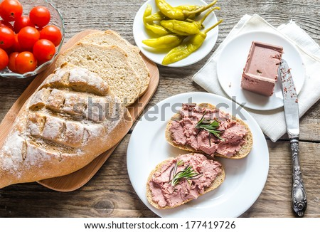 Wholewheat sandwiches with liver pate - stock photo