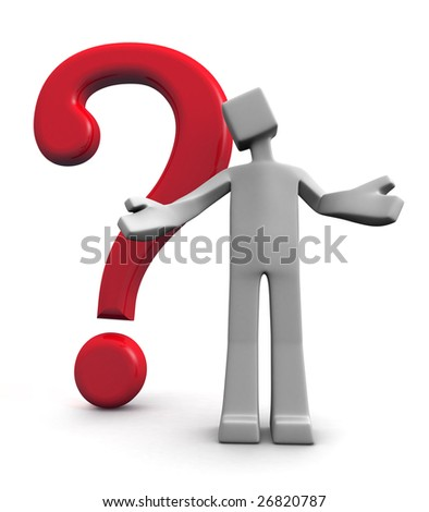 Why concept a 3d man acting confusion with a question mark behind - stock photo