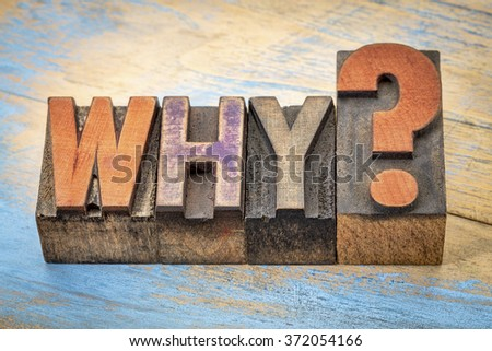 why question in vintage letterpress wood type stained by color inks - stock photo
