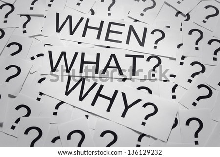 Why, when and why on many question marks on paper. Question concept. - stock photo